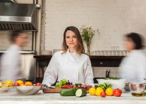 Brigitte Theriault in the kitchen